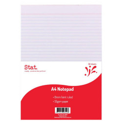 STAT NOTEPAD A4 8MM RULED 55Gsm White 50 Sheet