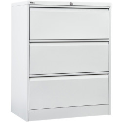 GO LATERAL FILING CABINET 3 DR White Satin H1016xW900xD470mm
